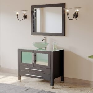 espresso vanity, brushed nickel faucet