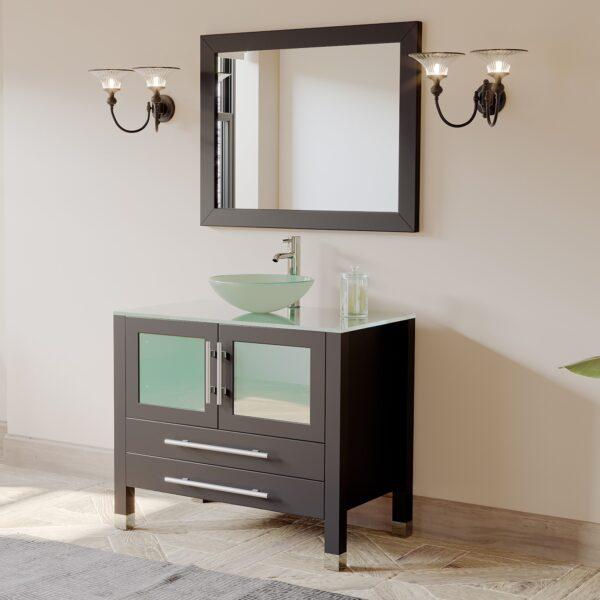 Solid Oak Wood And Tempered Glass Bathroom Vanity Set