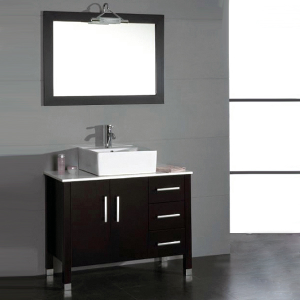 40-inch bathroom vanity set with a polished chrome faucet