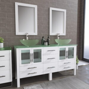 8119BW_BN_1 White Double Vessel Sink Vanity Set