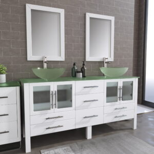 8119BXLW_BN_1 White XL Double Glass Vessel Sink Vanity Set