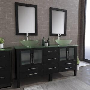 8119B Espresso Dual Sink Vanity Set