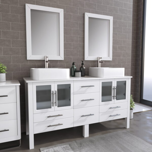 8119W_BN_1 White Double Porcelain Vessel Sink Vanity Set