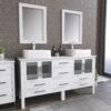 8119W_CP_1 White Double Porcelain Vessel Sink Vanity Set