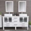 8119W_CP_2 White Double Porcelain Vessel Sink Vanity Set