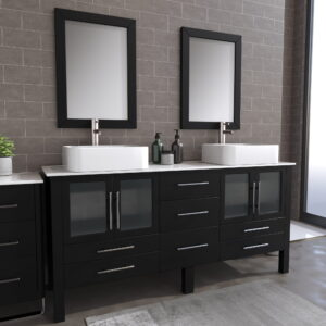 8119XL_BN_1 Espresso Double Porcelain Vessel Sink Vanity Set
