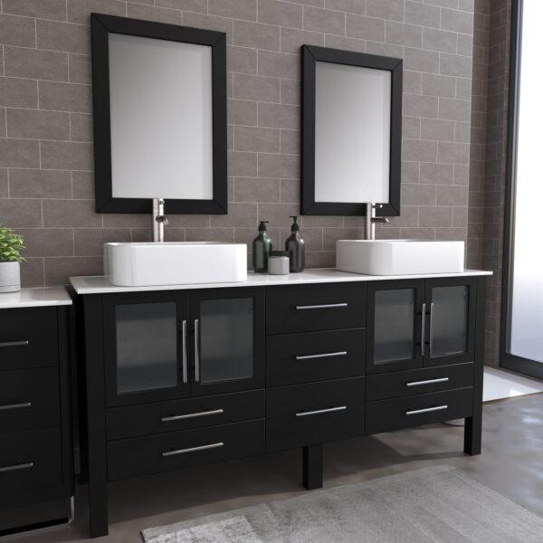 8119XL_BN_1 Espresso Double Porcelain Vessel Sink Vanity Set