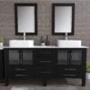 8119XL_BN_2 Espresso Double Porcelain Vessel Sink Vanity Set