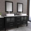 8119XL_CP_1 Espresso Double Porcelain Vessel Sink Vanity Set