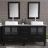 8119XL_CP_2 Espresso Double Porcelain Vessel Sink Vanity Set