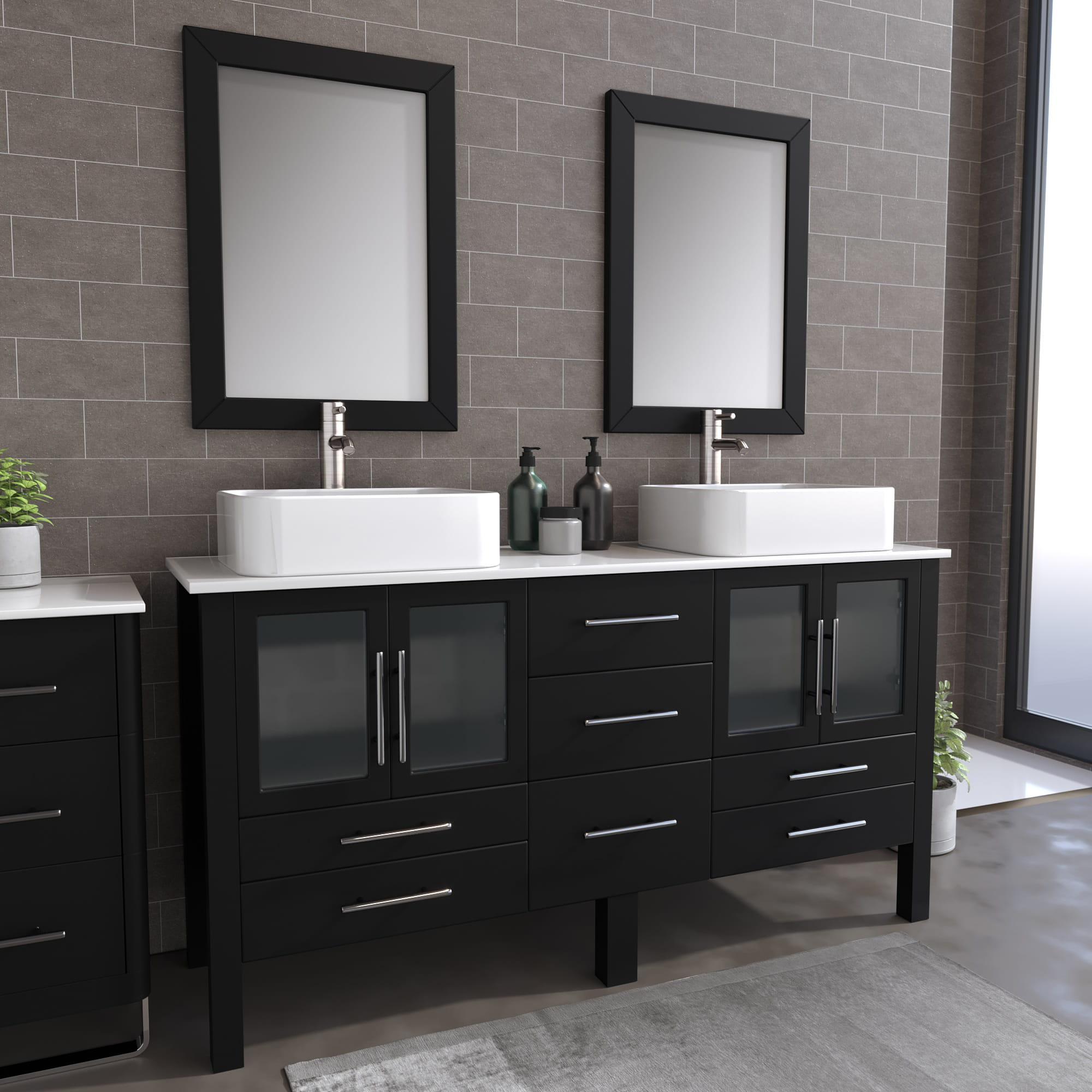 8119_BN_1 Espresso Double Porcelain Vessel Sink Vanity Set