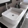 8119_BN_3 Espresso Double Porcelain Vessel Sink Vanity Set