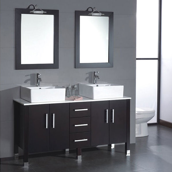 63 Inch Wood Glass Espressodouble Sink Bathroom Vanity Set