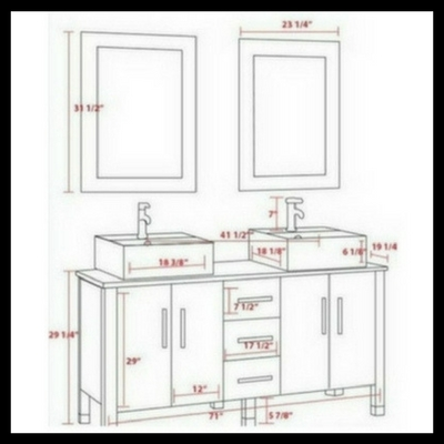 double vessel sink, bathroom vanity set, espresso,