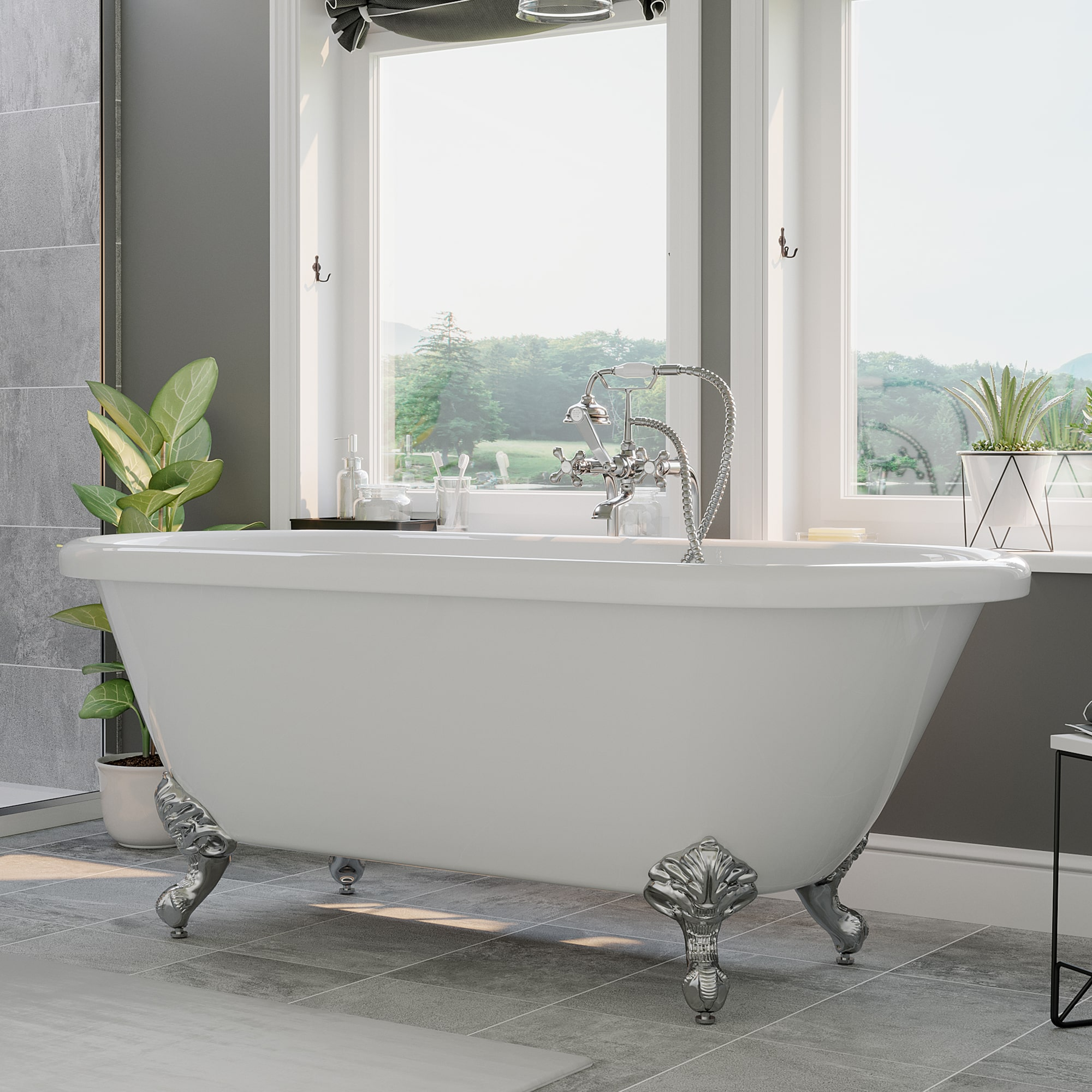 double ended, clawfoot tub,