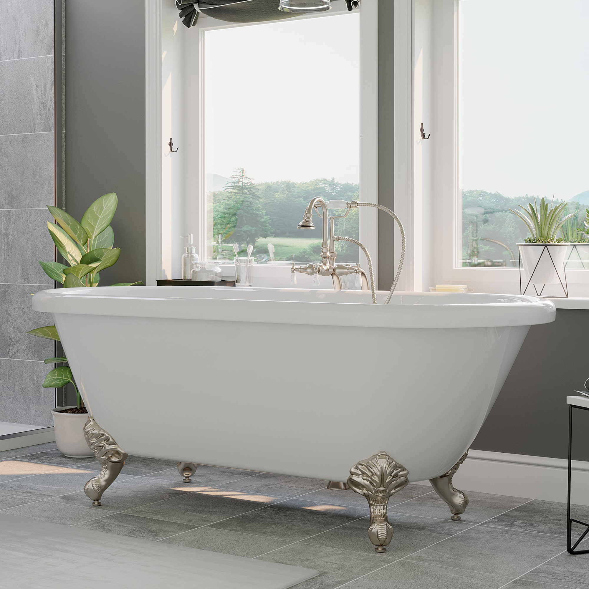 Acrylic Double Ended Clawfoot Bathtub No Faucet Holes Pkg