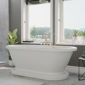 brushed nickel tub faucet, dual end freestanding tub, pedestal bathtub,