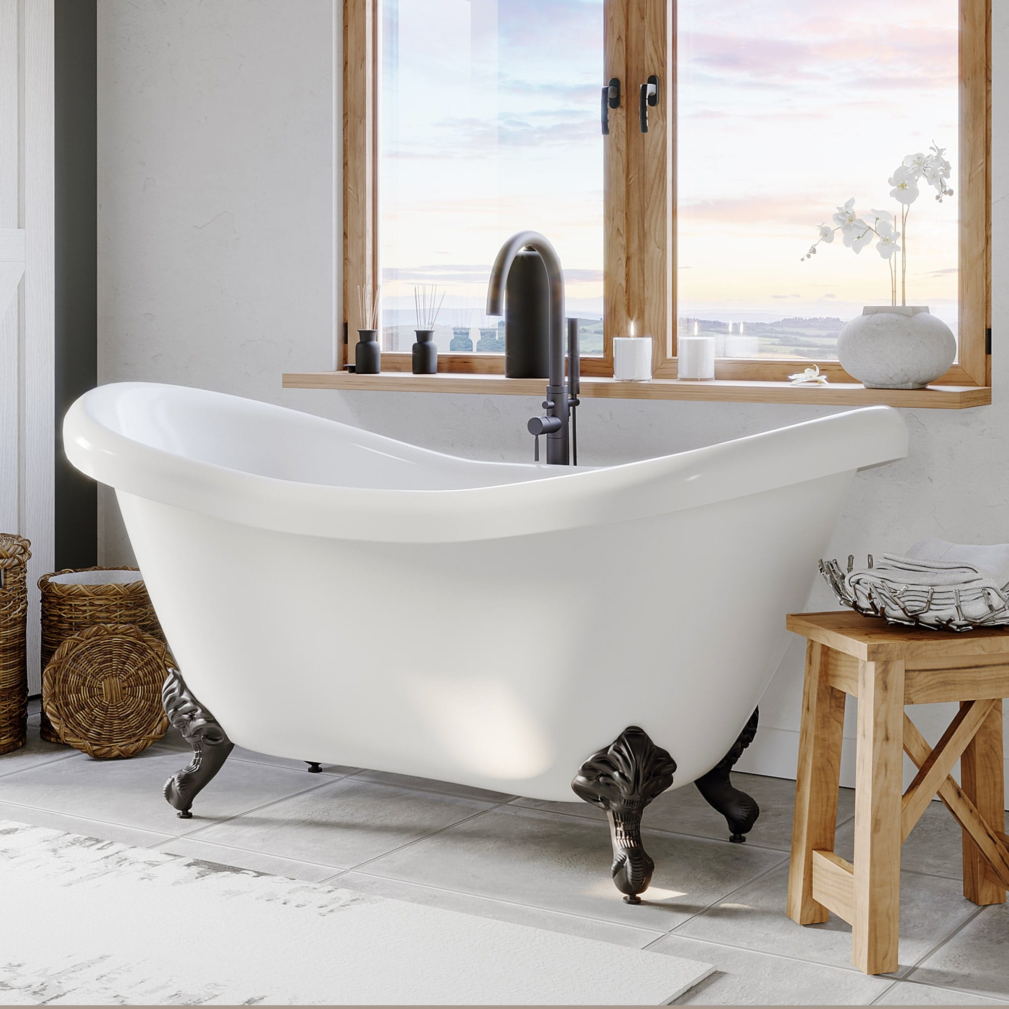 freestanding tub, clawfoot tub, double slipper tub,