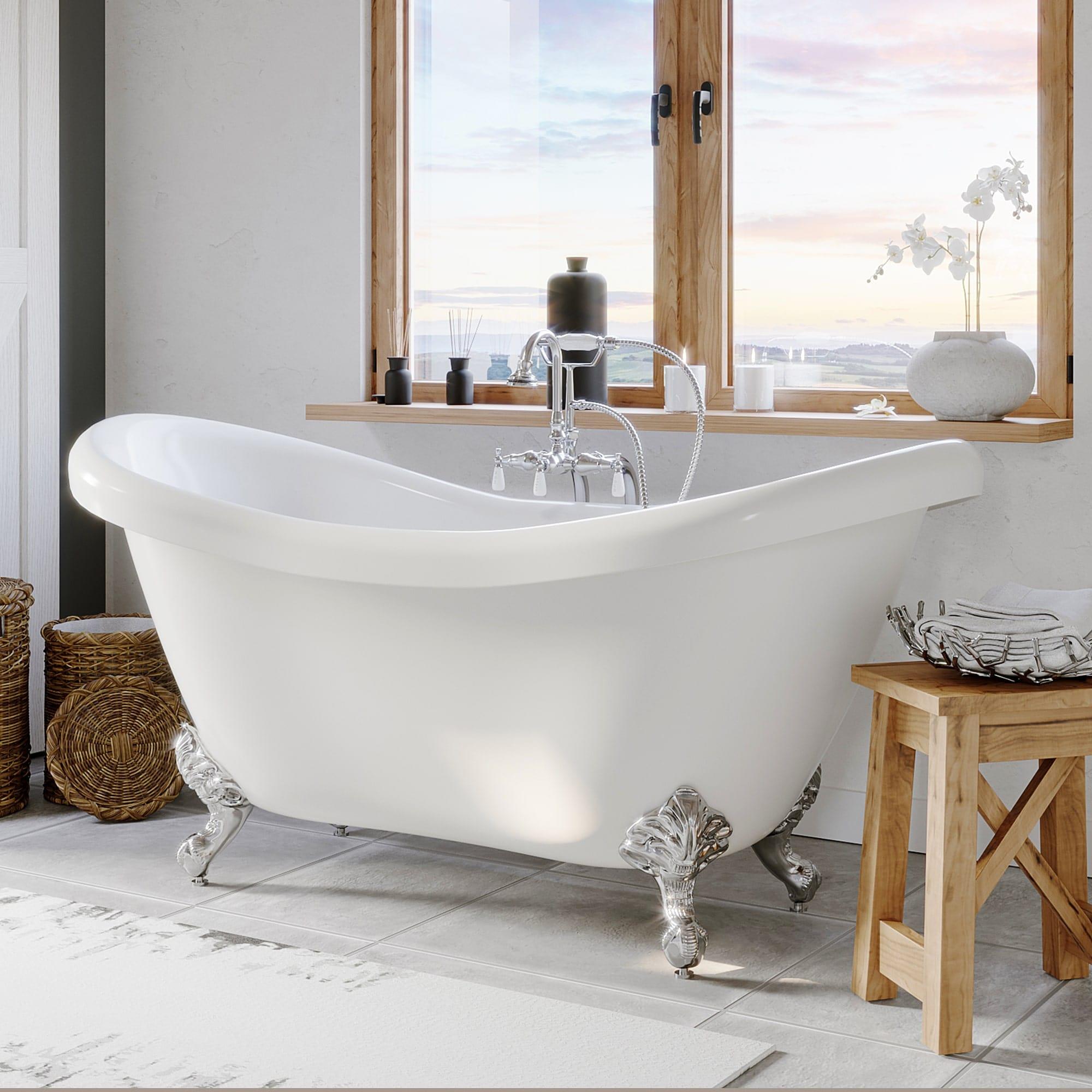 freestanding tub, double slipper tub clawfoot tub,