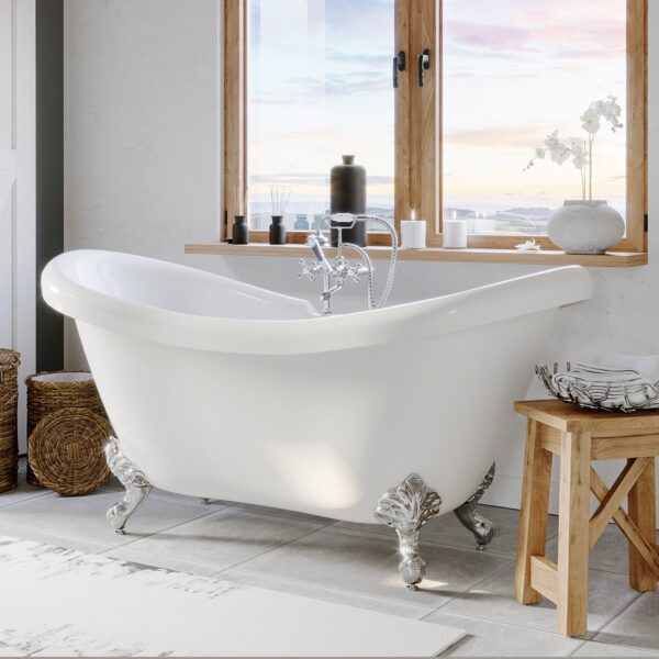 double slipper tub, clawfoot tub,