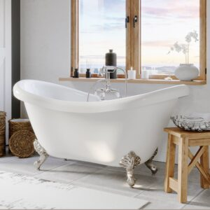 clawfoot tub, double slipper tub,