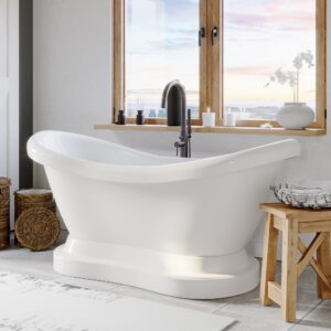 pedestal tub, double slipper tub, freestanding tub and faucet,