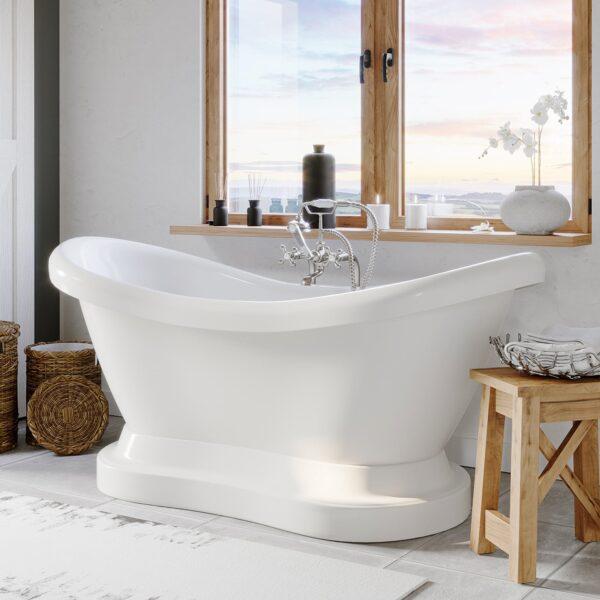 pedestal tub, freestanding tub, double slipper tub,