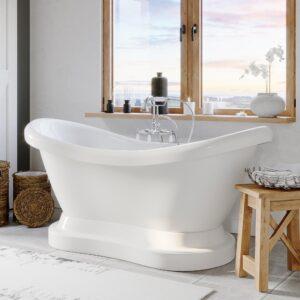 freestanding tub, double slipper tub, pedestal tub, tub and faucet,