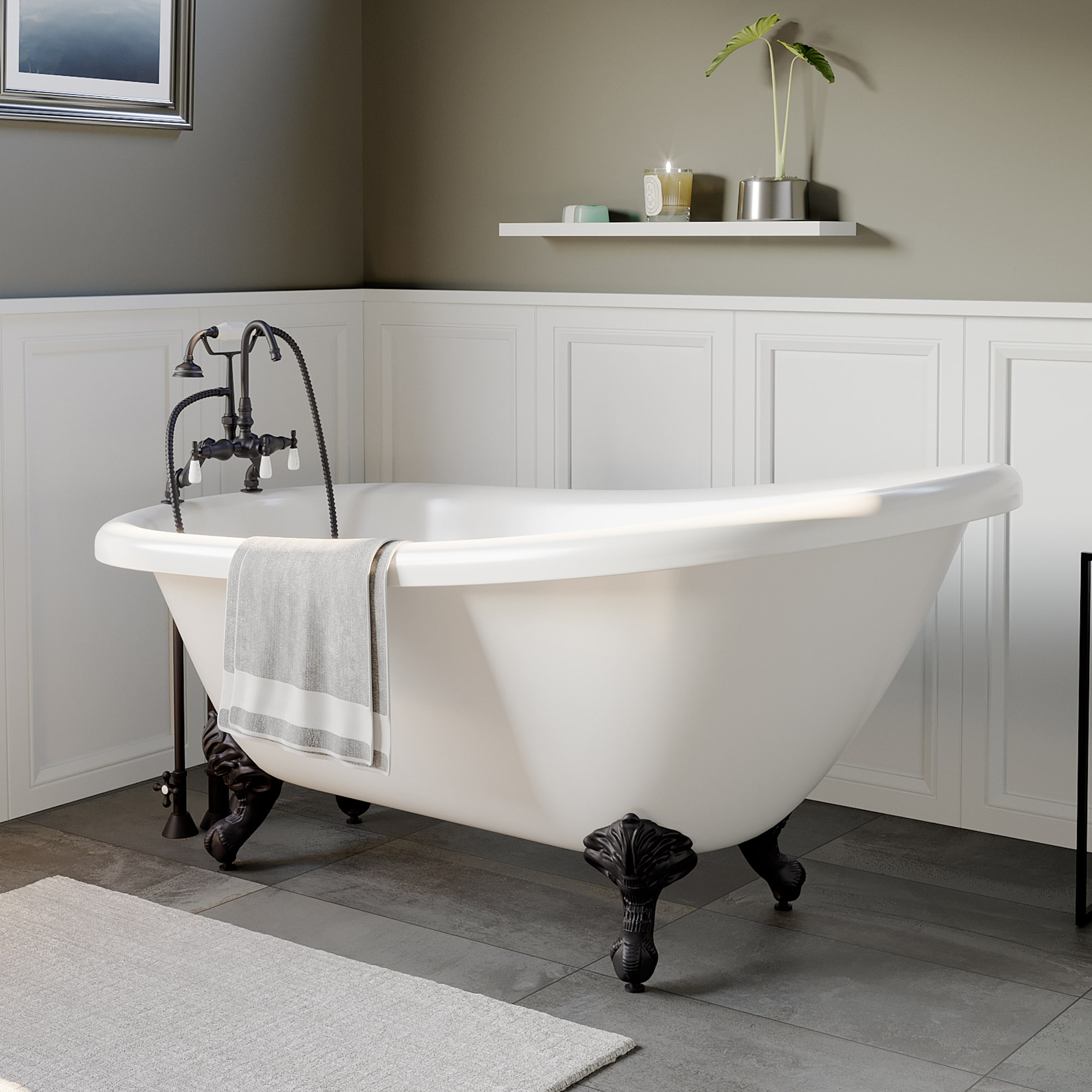 slipper tub, tub and faucet package, clawfoot tub,