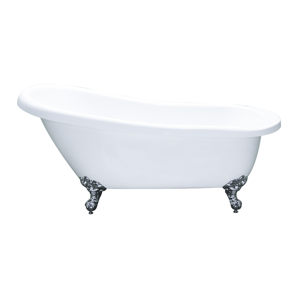 White Acrylic Single Slipper Clawfoot Bathtub 61 X 28
