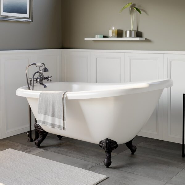 clawfoot slipper tub, tub and faucet package,