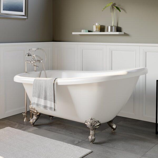 clawfoot slipper tub, acrylic tub,