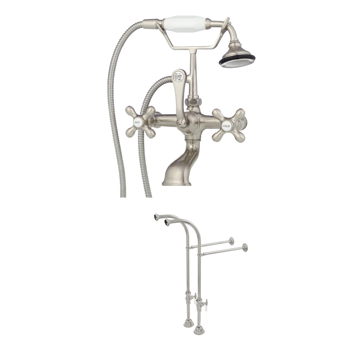 Clawfoot Tub Freestanding British Telephone Faucet Shower Pkg