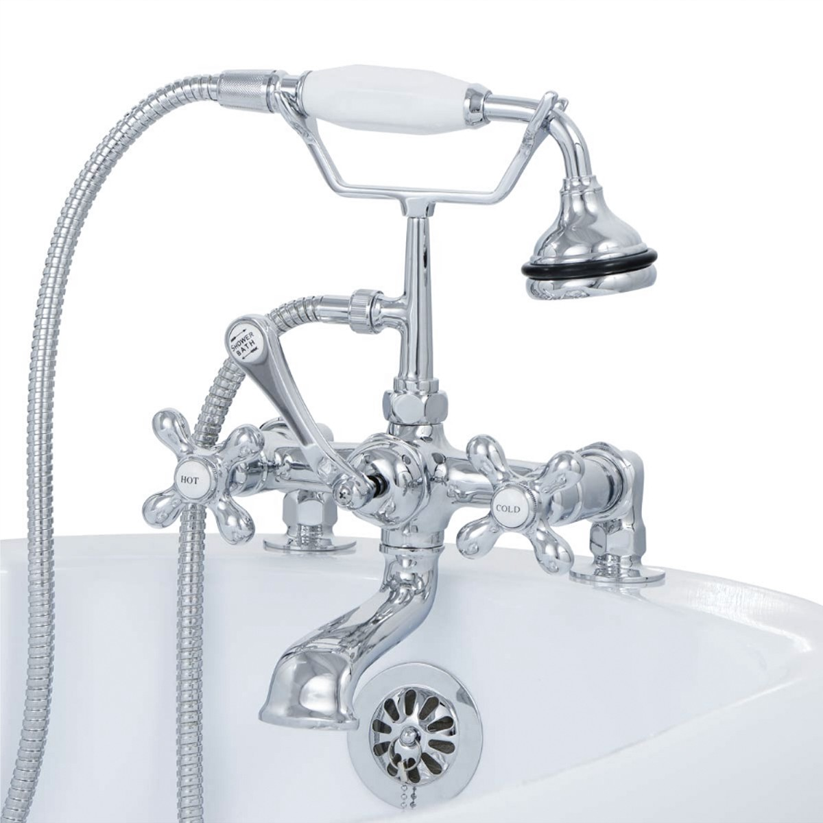 Clawfoot Tub Deck Mount Brass Faucet With Hand Held Shower