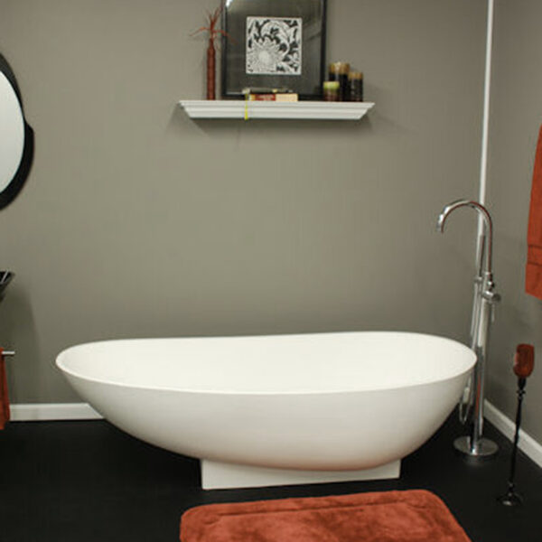 cultured marble, faux marble, freestanding tub,