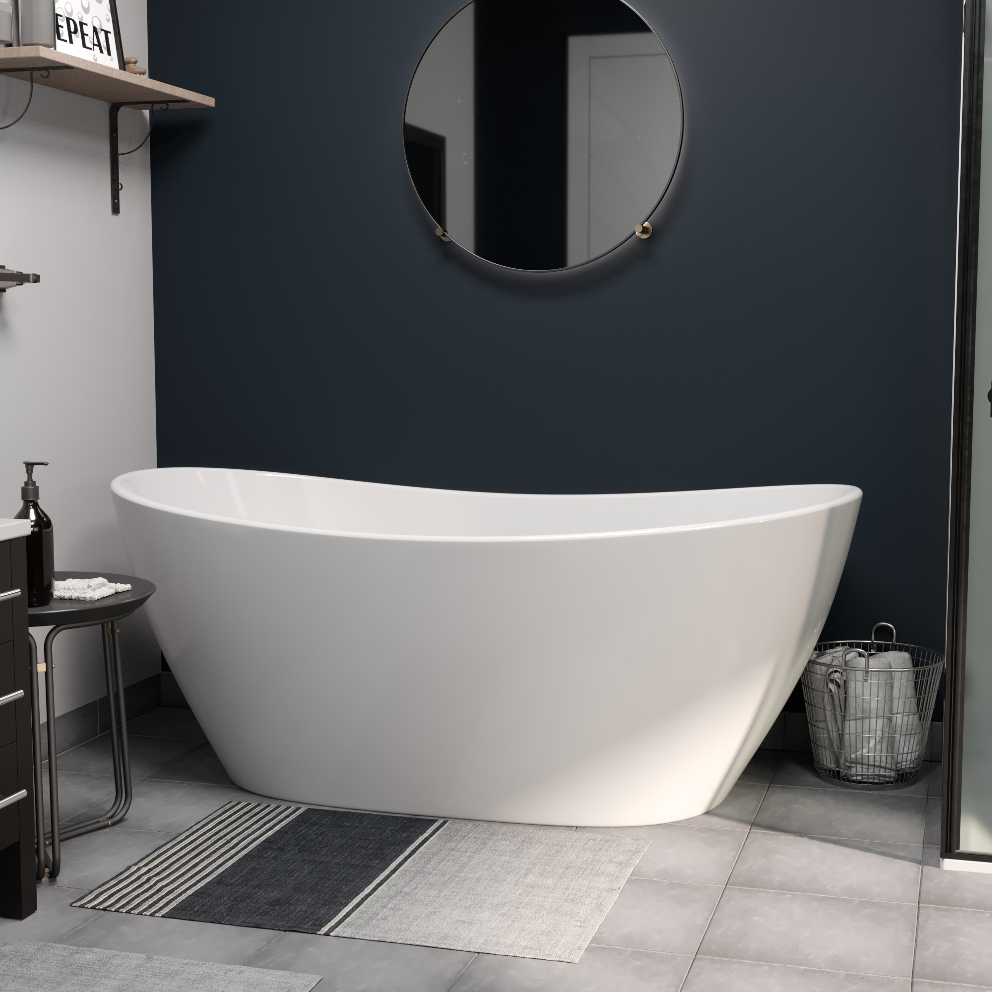 Cultured Marble Double Slipper Tub CM02 01