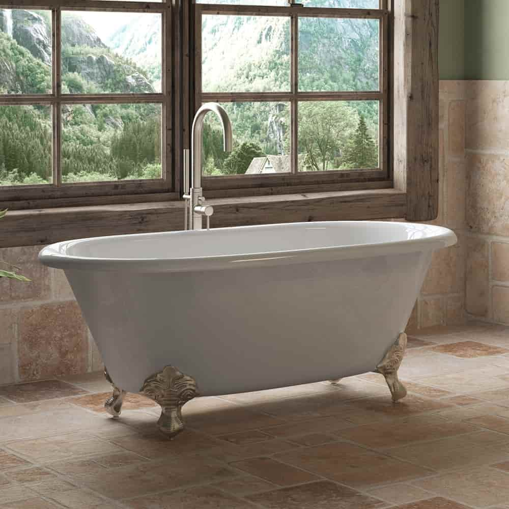 Cast Iron Double Ended Clawfoot Tub No Faucet Drillings and Clawfeet