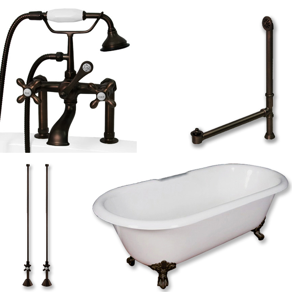 Cast Iron Double End Clawfoot Tub With Telephone Faucet Pkg 6 Risers