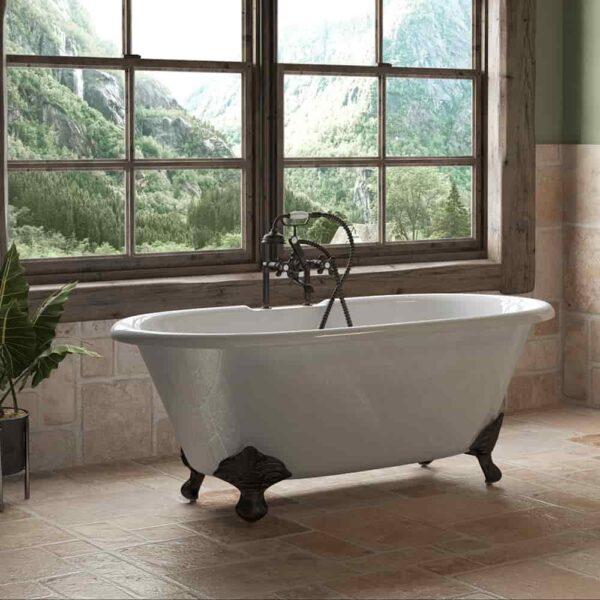 dual end, cast iron, clawfoot tub,