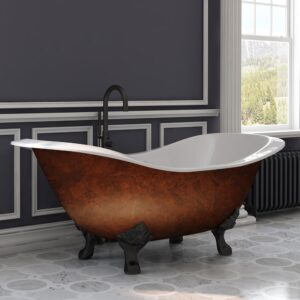 cast iron, double slipper, clawfoot, copper bronze tub,