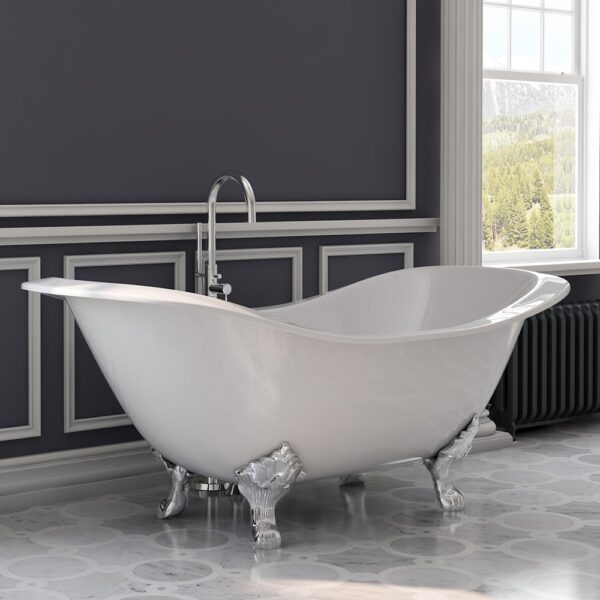 Cast Iron Double Ended Slipper Tub Modern Freestanding Tub Faucet
