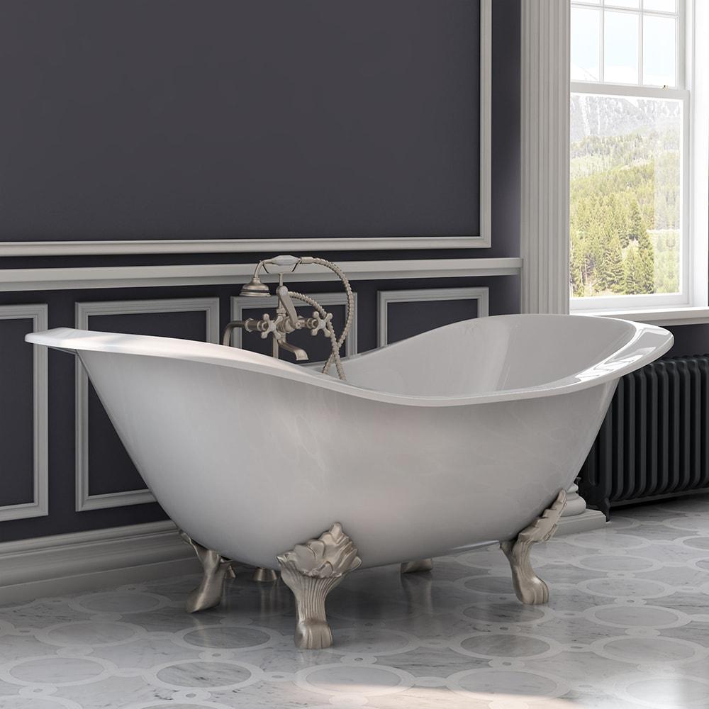 cast iron, double slipper, clawfoot tub,