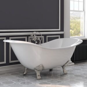 cast iron, double slipper, clawfoot tub,