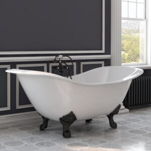 clawfoot tub, double slipper, cast iron,
