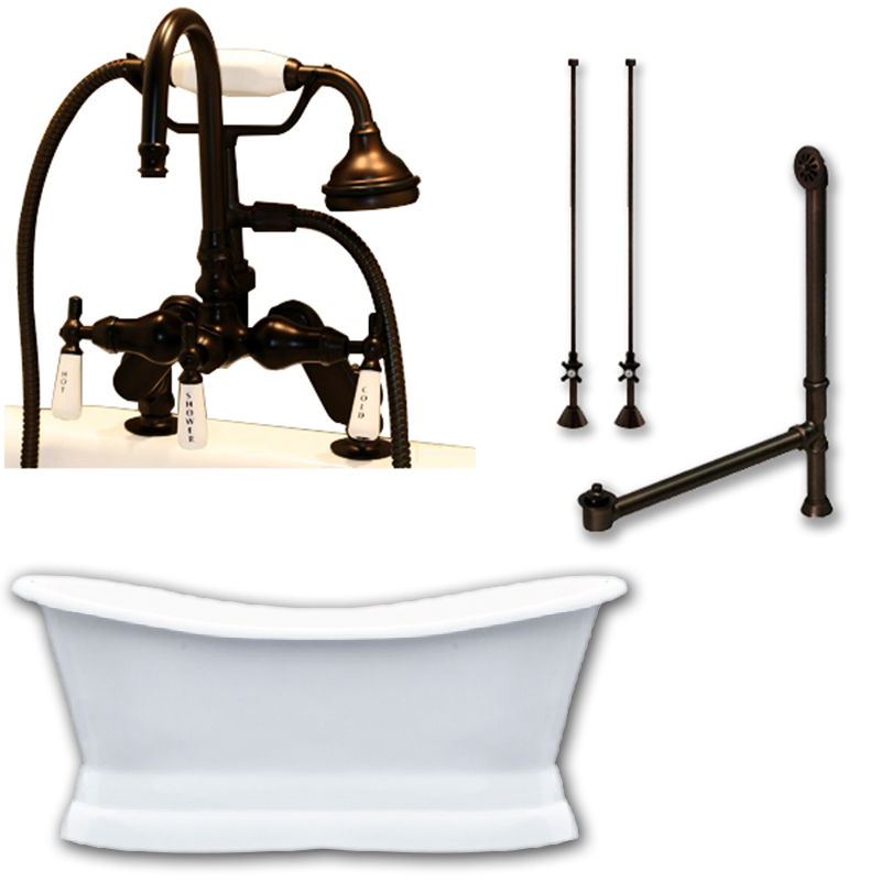 Cast Iron Pedestal Double Ended Slipper Tub W Faucet Package