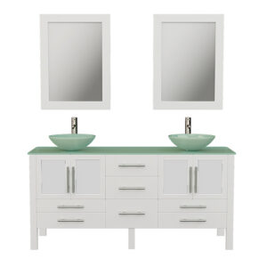 8119BWXL White Bathroom Vanity Set w/Brushed Nickel Faucets