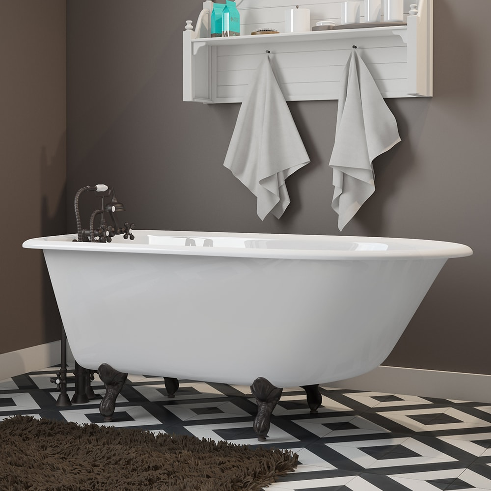 Cast-Iron Rolled Rim Clawfoot Tub Wall Faucet Drillings and Claw Feet