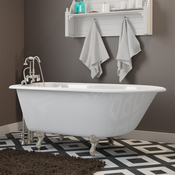 55 inch clawfoot tub. Cast Iron Rolled Rim Clawfoot Tub 55  X 30 With 7 Deck Mount Faucet Drillings And English Telephone Style Complete Plumbing Package
