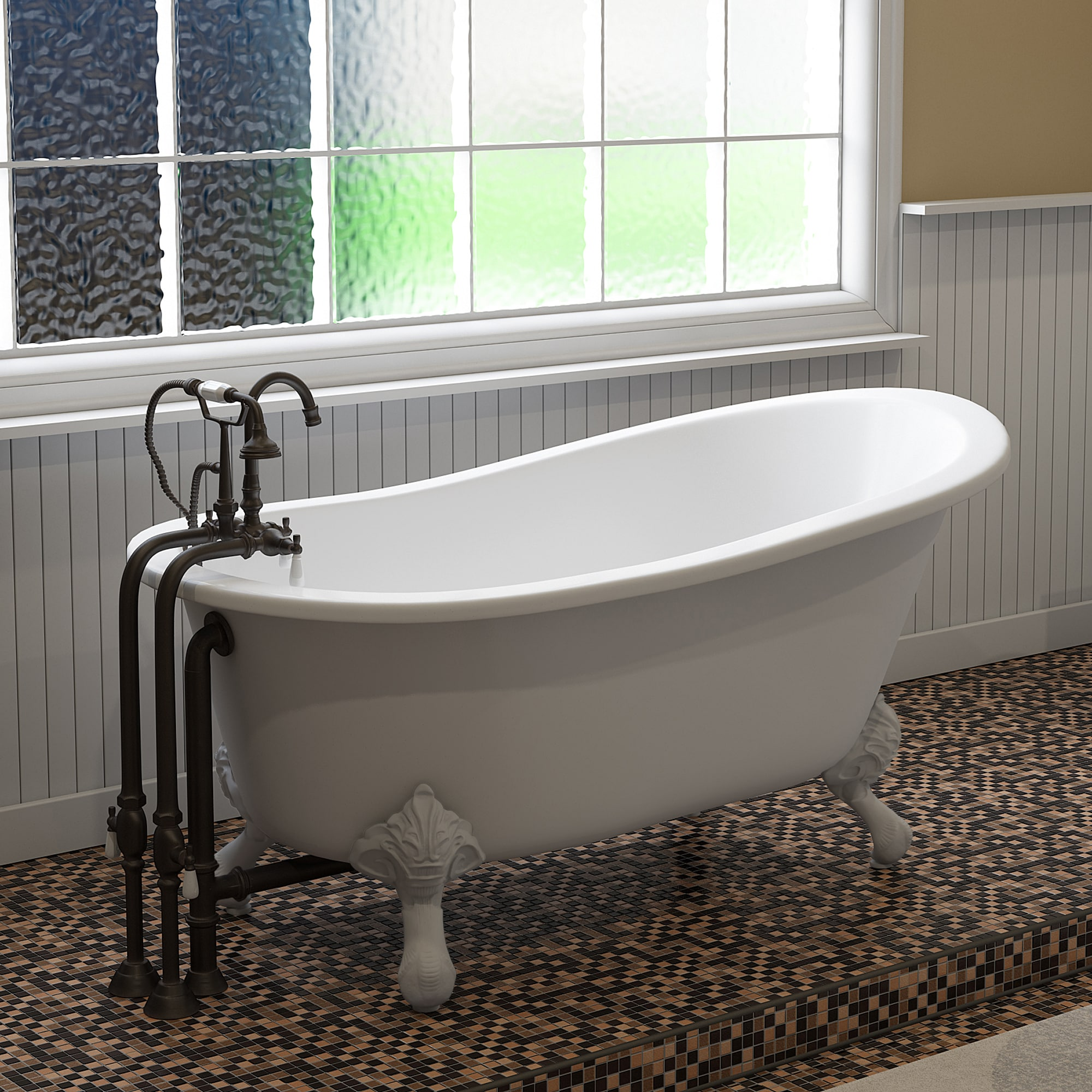 Cast Iron Slipper Clawfoot Tub With Freestanding Faucet