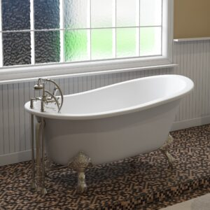 cast iron, clawfoot, slipper tub, chrome faucet,